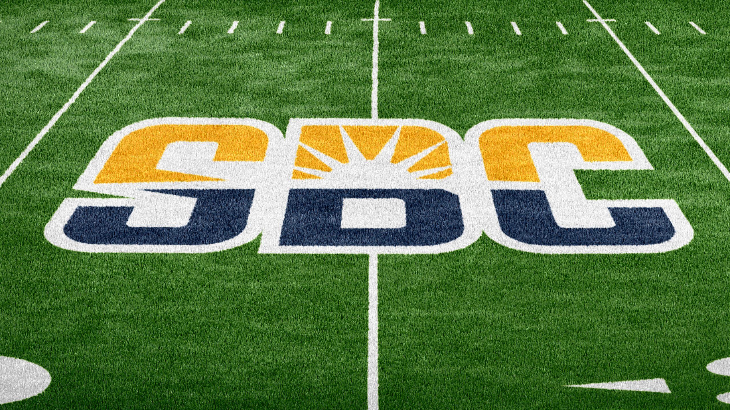 Sun Belt Conference logo on turf field/sun belt conference football